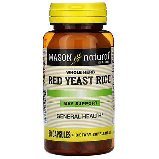 Mason Natural, Whole Herb Red Yeast Rice, 60 Capsules