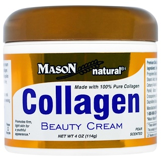 Mason Naturals, Collagen Beauty Cream, Pear Scented, 4 oz (114 g)