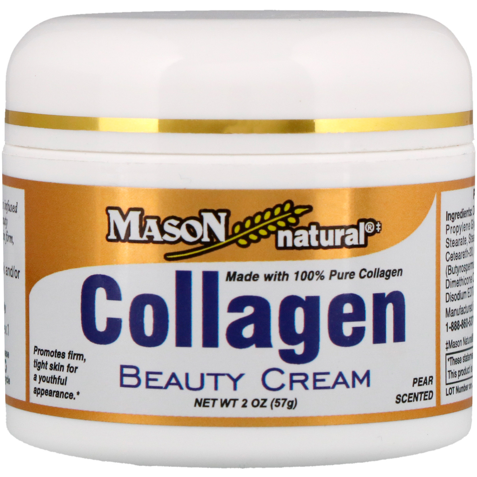Collagen Beauty Cream Pear Scent - 2 oz. by Mason Natural (pack of 4) Aloe Vera Face Sheet Mask - 1 Count by The Creme Shop (pack of 3)