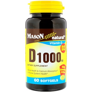 Mason Natural, Vitamin D, 1000 IU, 60 Softgels
