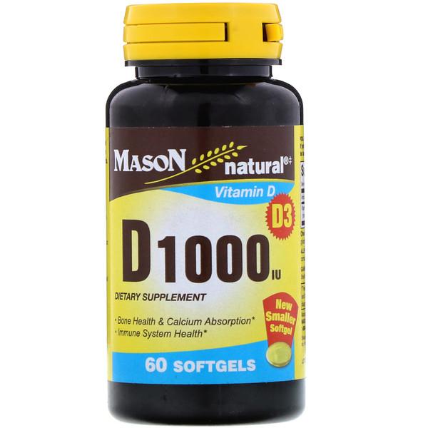 Mason Natural, Vitamin D, 1000 IU, 60 Softgels