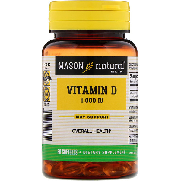 Mason Natural, Vitamin D, 1000 IU, 60 Softgels (Discontinued Item)