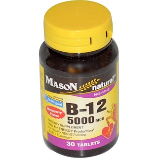 Mason Natural, Vitamin B-12, Raspberry Flavor, 5000 mcg, 30 Sublingual Tablets