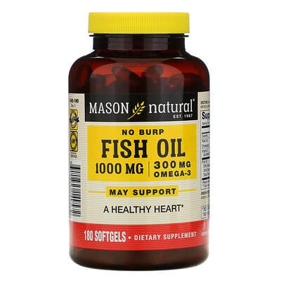 Mason Natural No Burp Fish Oil, 1,000 mg, 180 Softgels