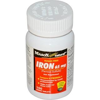 Mason Natural, Iron, Sugar Free, 65 mg, 100 Green Tablets