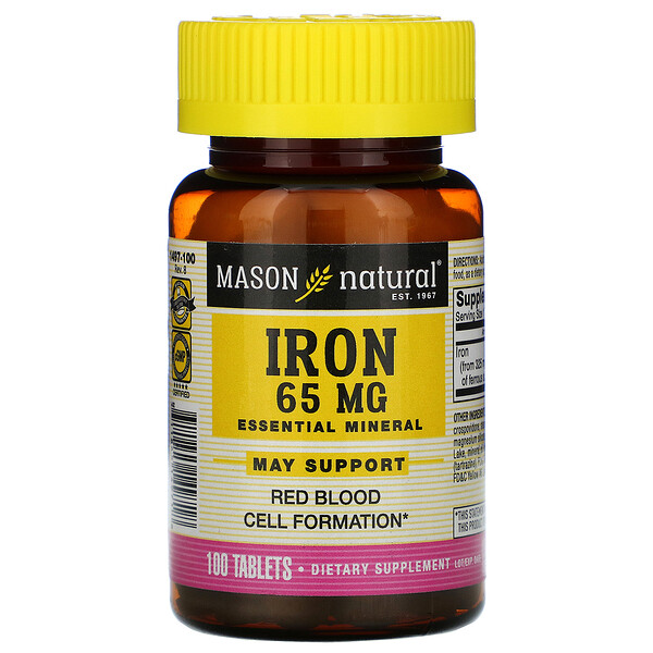 Iron, 65 mg, 100 Tablets