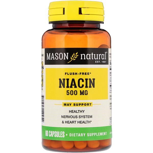 Mason Natural, ナイアシン、紅潮フリー、500 mg、60カプセル