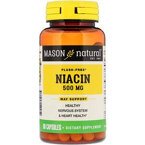 Масон Натуралс, Niacin, Flush Free, 500 mg, 60 Capsules отзывы