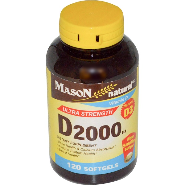 Mason Natural, D2000 IU, 120 Softgels (Discontinued Item)