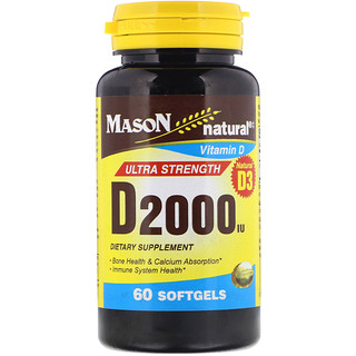 Mason Natural, Vitamin D, 2,000 IU, 60 Softgels