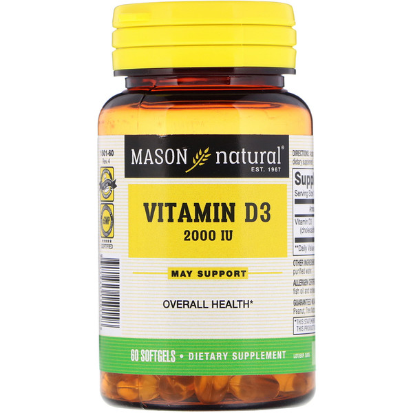 Mason Natural, Vitamin D, 2,000 IU, 60 Softgels (Discontinued Item)