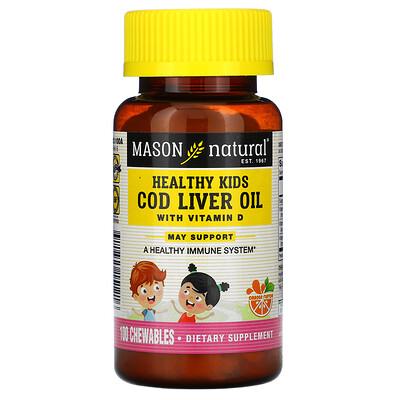 Mason Natural Healthy Kids, жир печени трески с витаминомD, искусственный ароматизатор «Апельсин», 100жевательных таблеток  - купить со скидкой