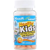 Жир печени трески Healthy Kids, жевательные конфеты с витамином D, искусственный ароматизатор для апельсинового вкуса, 100 конфет - фото
