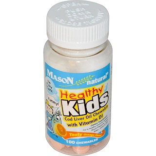 Mason Naturals, Healthy Kids Cod Liver Oil Chewable with Vitamin D, Tasty Orange Flavor, 100 Chewables