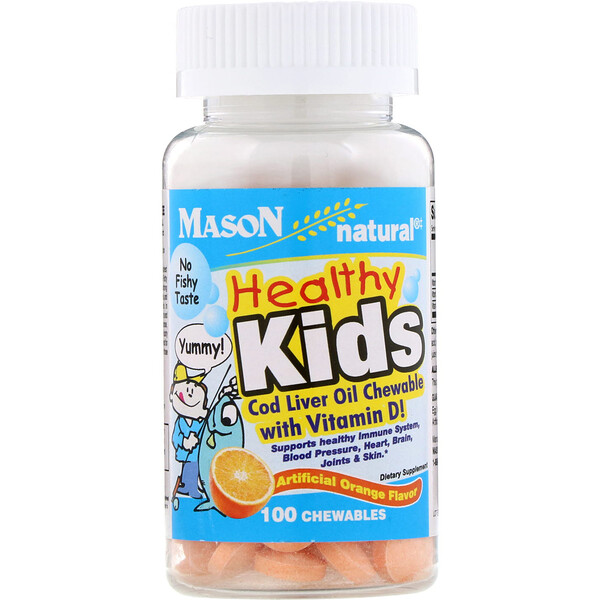 Mason Natural, Healthy Kids Cod Liver Oil Chewable with Vitamin D!, Artificial Orange Flavor, 100 Chewables