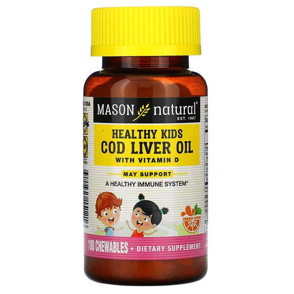 Mason Natural, Healthy Kids, Cod Liver Oil with Vitamin D, Orange, 100 Chewables