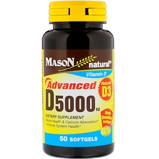 Mason Natural, D5000 IU, 50 Softgels