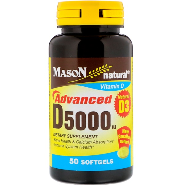 Mason Natural, D5000 IU,50粒軟膠囊 (Discontinued Item)
