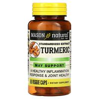 Mason Natural, 姜黃,標準化提取物,60 粒素食膠囊