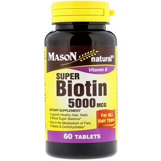 Mason Natural, Super Biotin, 5000 mcg, 60 Tablets