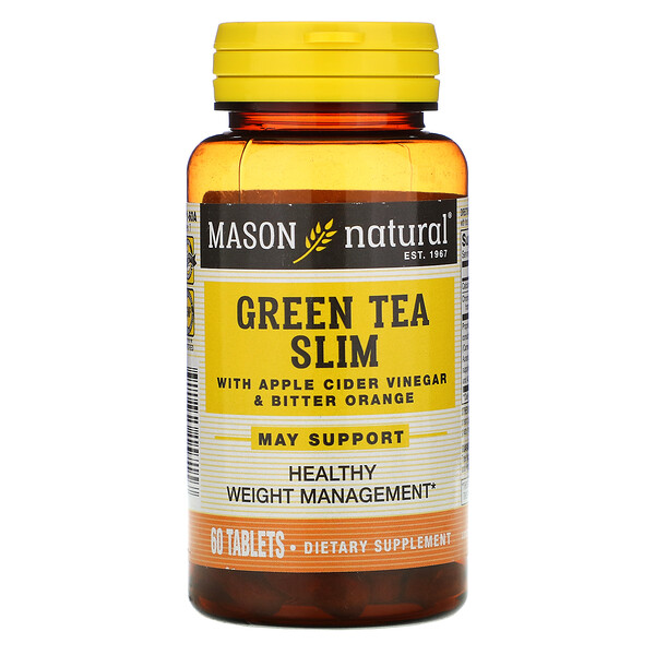 Mason Natural, Green Tea Slim with Apple Cider Vinegar & Bitter Orange, 60 Tablets
