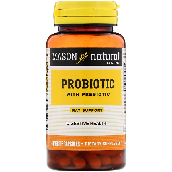 Mason Natural, Probiotic with Prebiotic, 40 Veggie Capsules