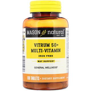 Mason Natural, Vitrum 50+ Multi-Vitamin, Iron-Free, 100 Tablets