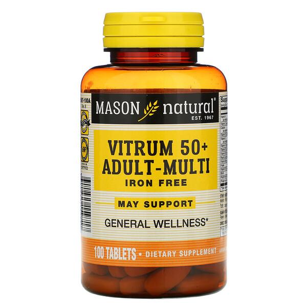 Vitrum 50 + 成年人多种维生素,不含铁,100 片
