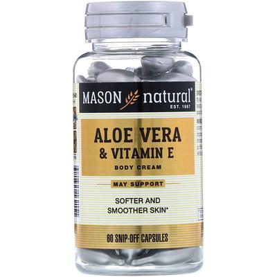 Алоэ вера и витамин Е, натуральный крем, 60 отрезных капсул