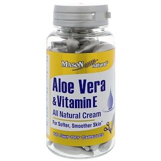 Mason Natural, Aloe Vera y vitamina E, Crema totalmente natural, 60 cápsulas snip-off