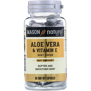 Mason Natural, Aloe Vera & Vitamin E, Body Cream, 60 Snip-Off Capsules