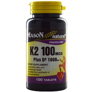 Mason Natural, K2 Plus D3, 100 mcg/1000 IU, 100 Tablets