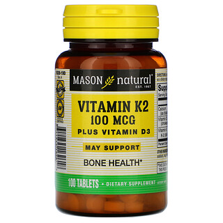Mason Natural, Vitamin K2 Plus Vitamin D3, 100 mcg, 100 Tablets