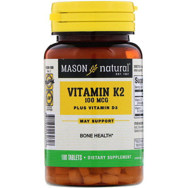 Vitamin K2 Plus Vitamin D3, 100 mcg, 100 Tablets