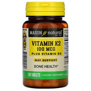 Масон Натуралс, Vitamin K2 Plus Vitamin D3, 100 mcg, 100 Tablets отзывы
