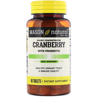 Mason Natural, Cranberry with Probiotic, Highly Concentrated, 60 Tablets