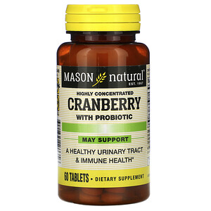 Масон Натуралс, Cranberry with Probiotic, Highly Concentrated, 60 Tablets отзывы покупателей