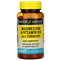 Mason Natural, 鎂&維生素 D3 含有薑黃,60 片