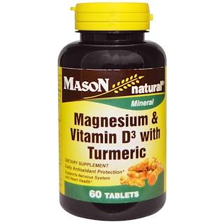 Mason Naturals, Magnesium & Vitamin D3 with Turmeric, 60 Tablets