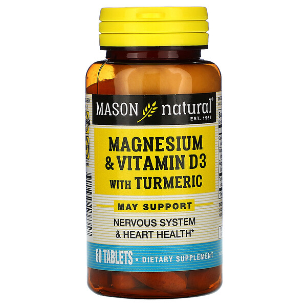 Magnesium & Vitamin D3 with Turmeric, 60 Tablets