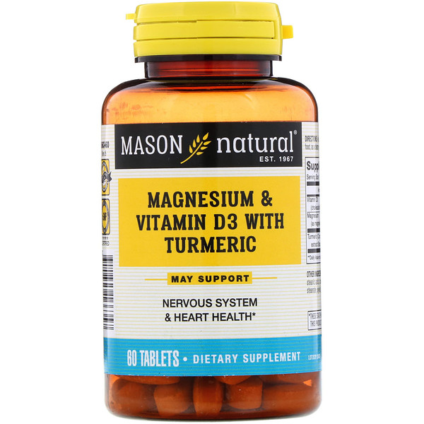 Mason Natural, Magnesium & Vitamin D3 with Turmeric, 60 Tablets