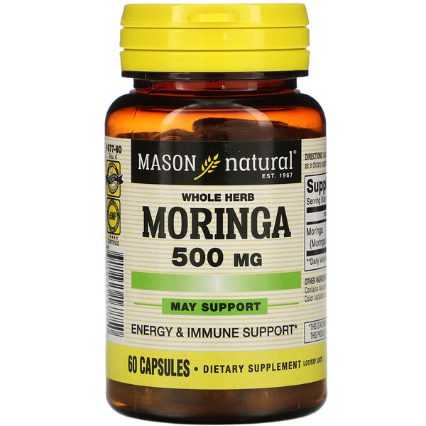 Whole Herb Moringa, 500 mg, 60 Capsules