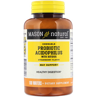 Mason Natural, Chewable Probiotic Acidophilus with Bifidus, Strawberry Flavor, 100 Wafers