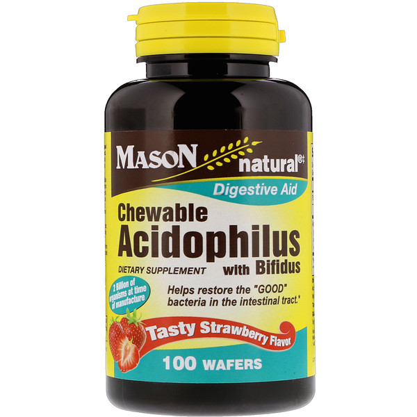 Mason Natural, Chewable Acidophilus with Bifidus, Tasty Strawberry Flavor, 100 Wafers