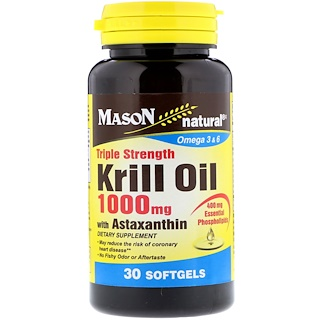 Mason Natural, 効果3倍のアスタキサンチン配合クリルオイル、1000mg、ソフトカプセル30錠