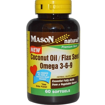 Mason Natural Coconut Oil / Flax Seed Omega 3-6-9, 60 Softgels