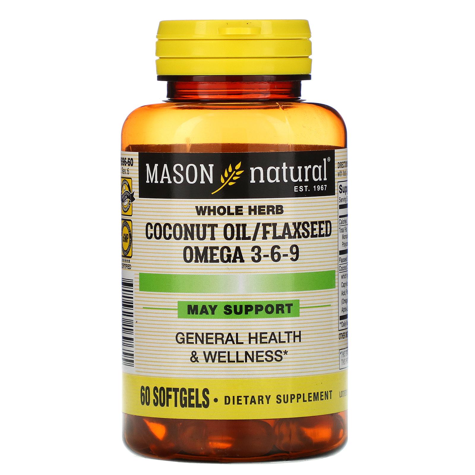 Mason Natural Whole Herb Coconut Oil Flaxseed Omega 3 6 9 60 Softgels Iherb