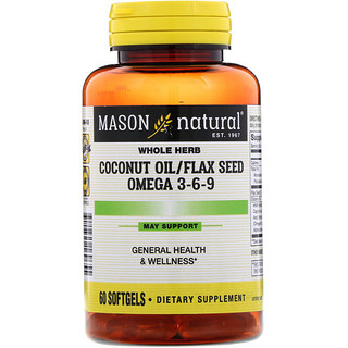 Mason Natural, Coconut Oil / Flax Seed Omega 3-6-9, 60 Softgels
