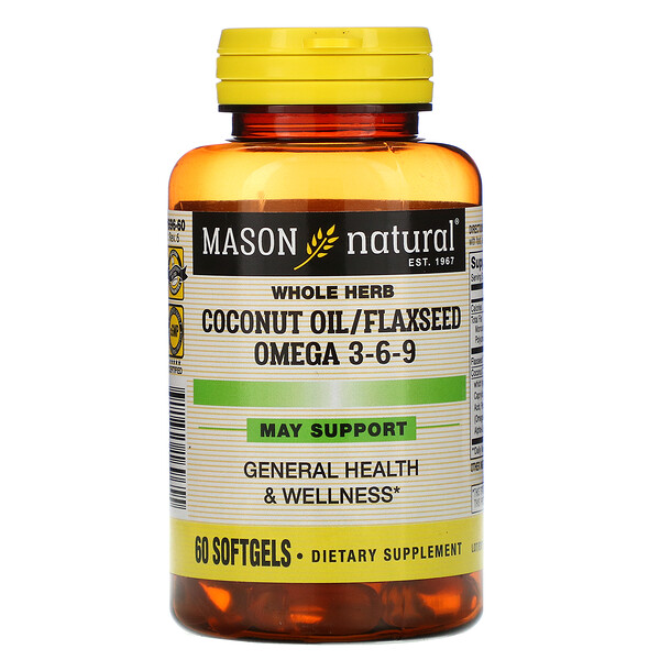 Mason Natural, Whole Herb Coconut Oil/Flaxseed Omega 3-6-9, 60 Softgels