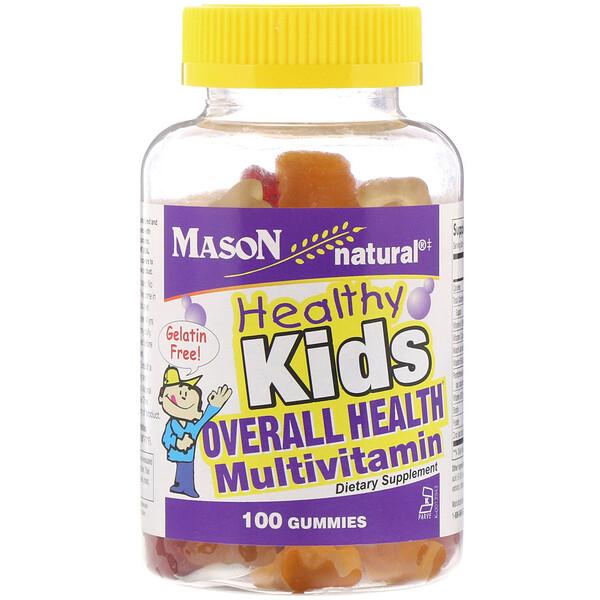 Mason Natural, Healthy Kids، فيتامينات متعددة للصحة العامة، 100 علكة